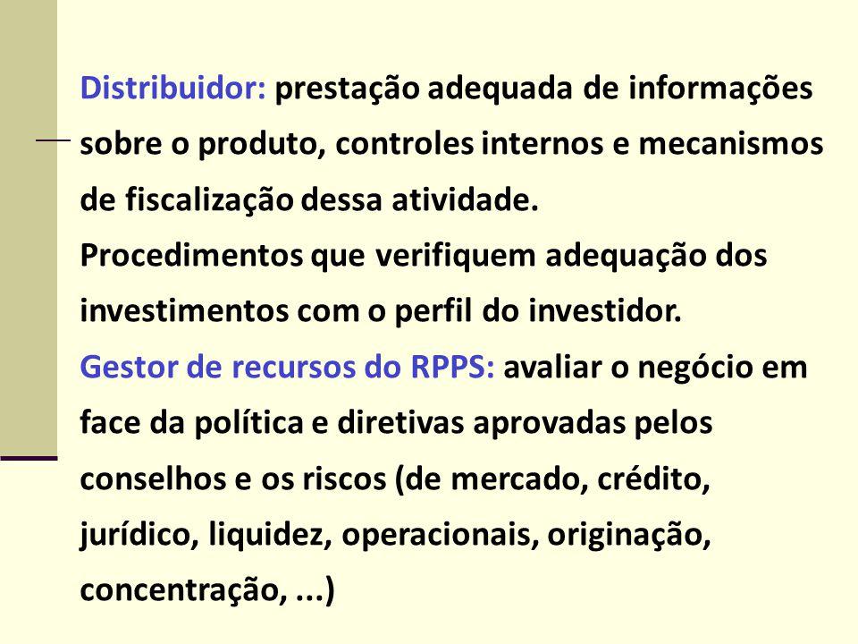 Distribuidor: prestação adequada de informações sobre o produto, controles internos e mecanismos de fiscalização dessa atividade.