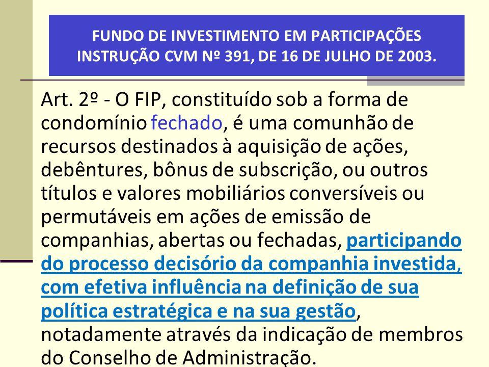 FUNDO DE INVESTIMENTO EM PARTICIPAÇÕES INSTRUÇÃO CVM Nº 391, DE 16 DE JULHO DE 2003.