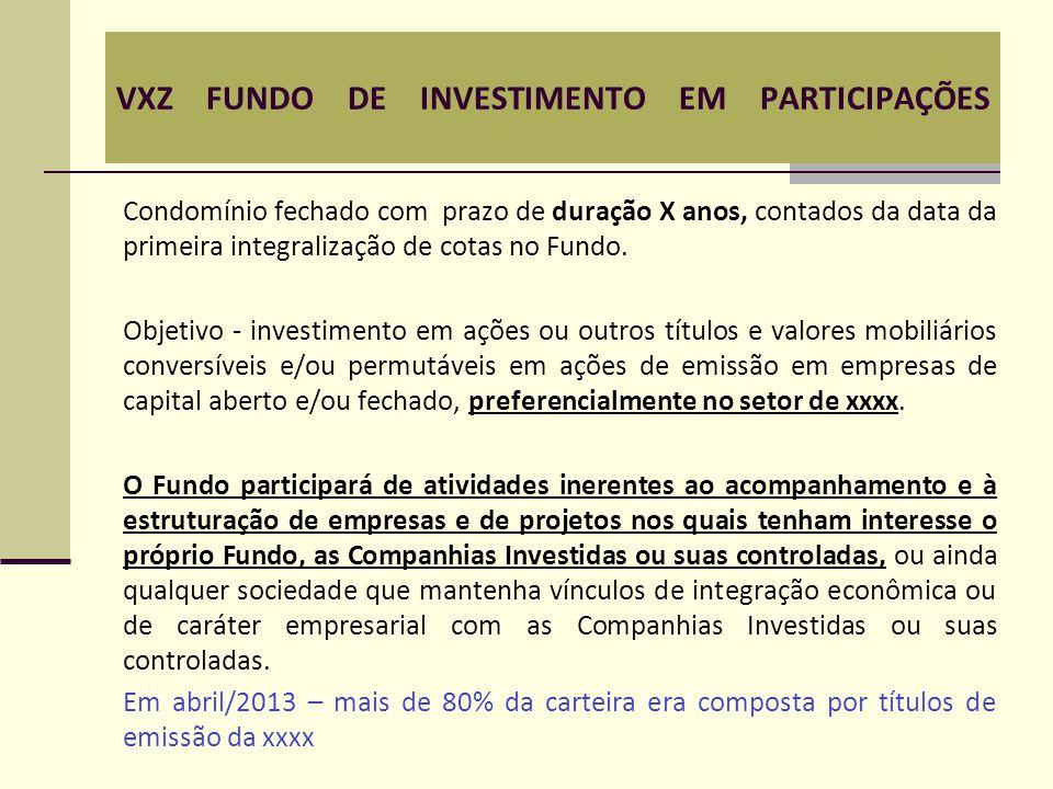 VXZ FUNDO DE INVESTIMENTO EM PARTICIPAÇÕES