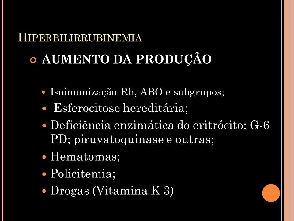 Hiperbilirrubinemia AUMENTO DA PRODUÇÃO Esferocitose hereditária;