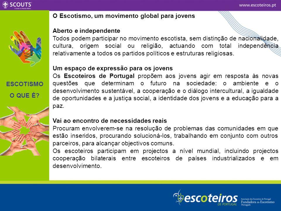 ESCOTISMO O QUE É O Escotismo, um movimento global para jovens. Aberto e independente.