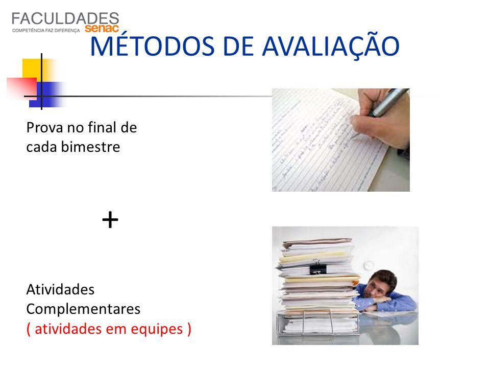 + MÉTODOS DE AVALIAÇÃO Prova no final de cada bimestre Atividades