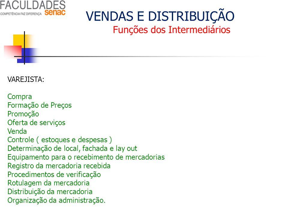 VENDAS E DISTRIBUIÇÃO Funções dos Intermediários VAREJISTA: Compra