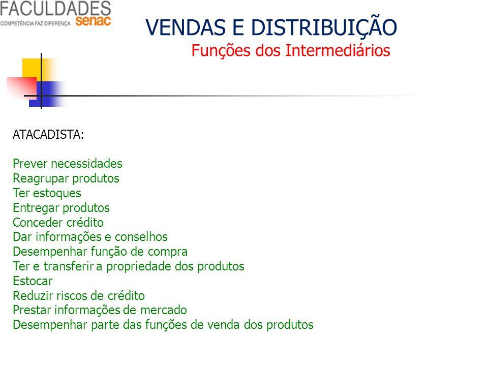 VENDAS E DISTRIBUIÇÃO Funções dos Intermediários ATACADISTA: