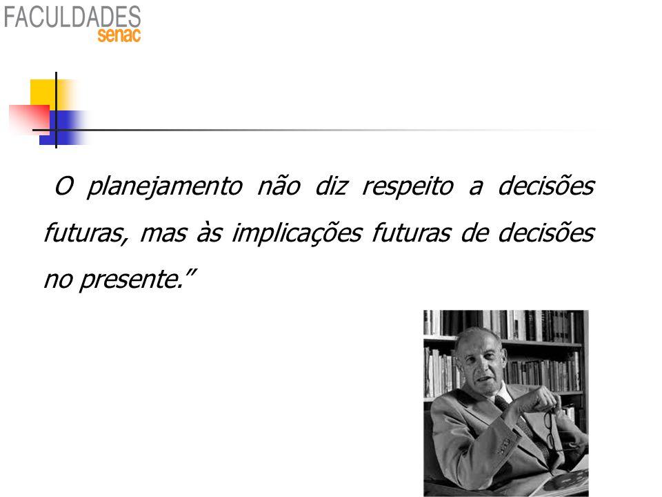 O planejamento não diz respeito a decisões futuras, mas às implicações futuras de decisões no presente.