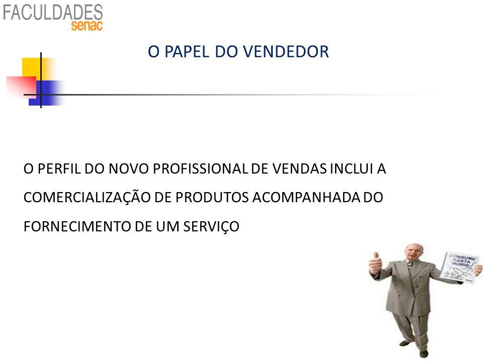 O PAPEL DO VENDEDOR O PERFIL DO NOVO PROFISSIONAL DE VENDAS INCLUI A COMERCIALIZAÇÃO DE PRODUTOS ACOMPANHADA DO FORNECIMENTO DE UM SERVIÇO.