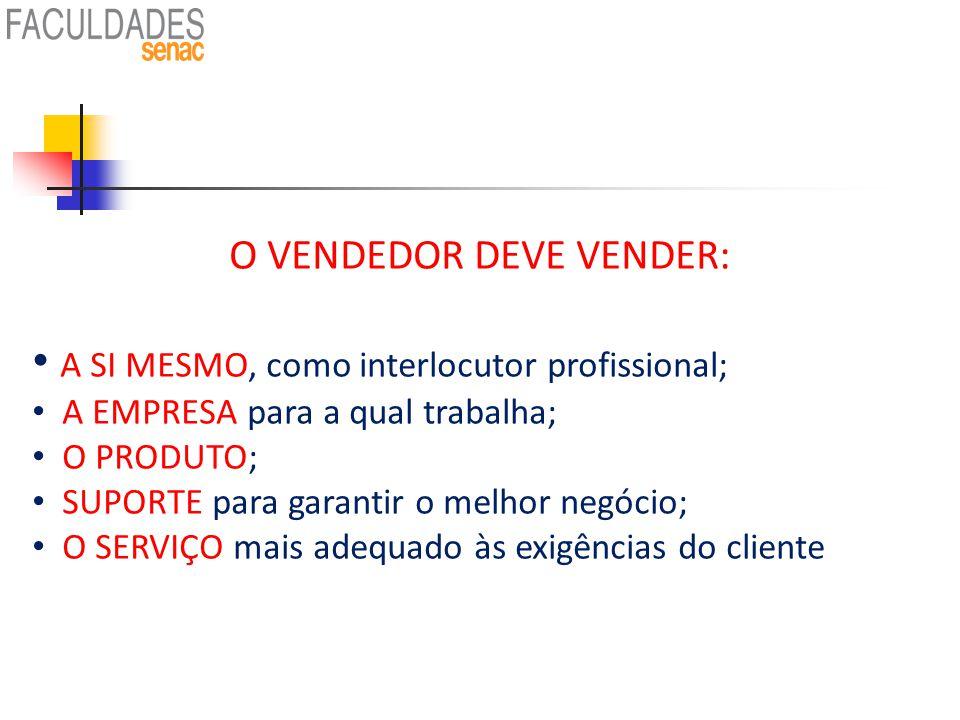O VENDEDOR DEVE VENDER:
