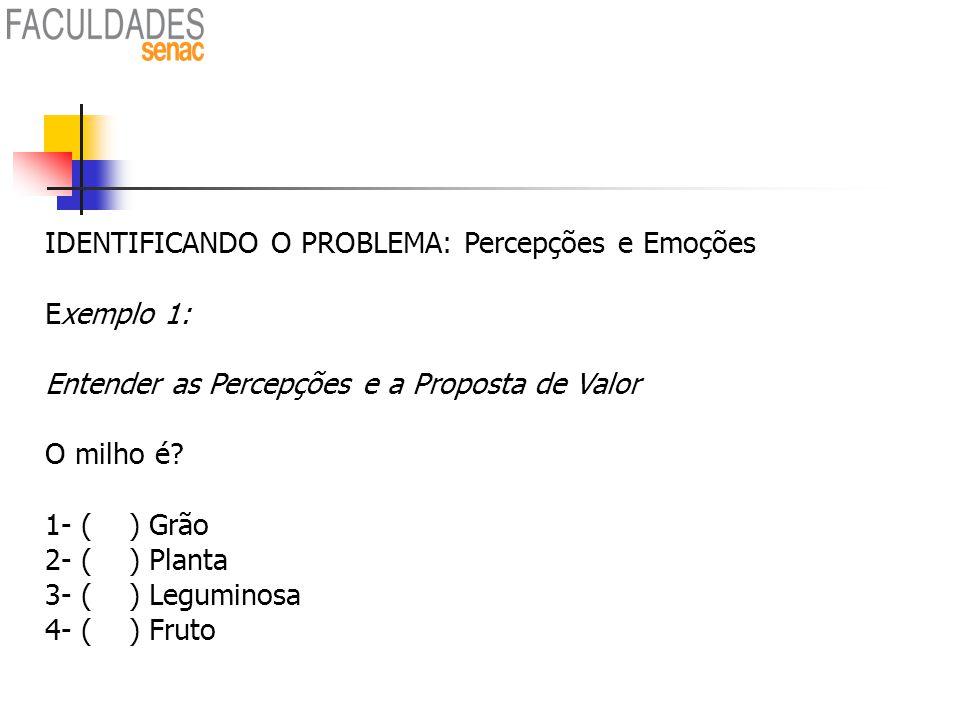 IDENTIFICANDO O PROBLEMA: Percepções e Emoções Exemplo 1:
