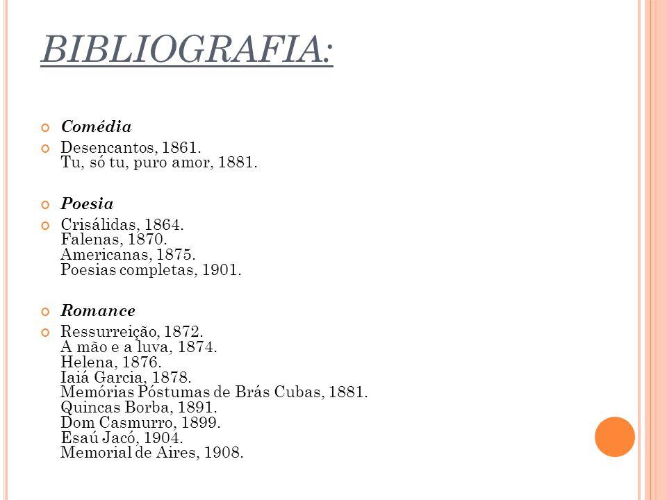 BIBLIOGRAFIA: Comédia Desencantos, 1861. Tu, só tu, puro amor, 1881.