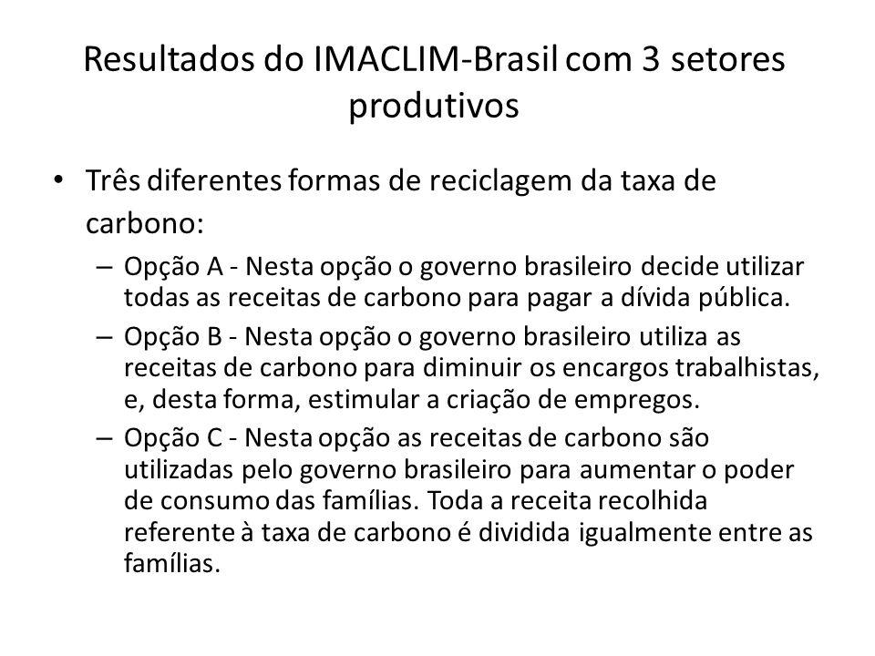 Resultados do IMACLIM-Brasil com 3 setores produtivos
