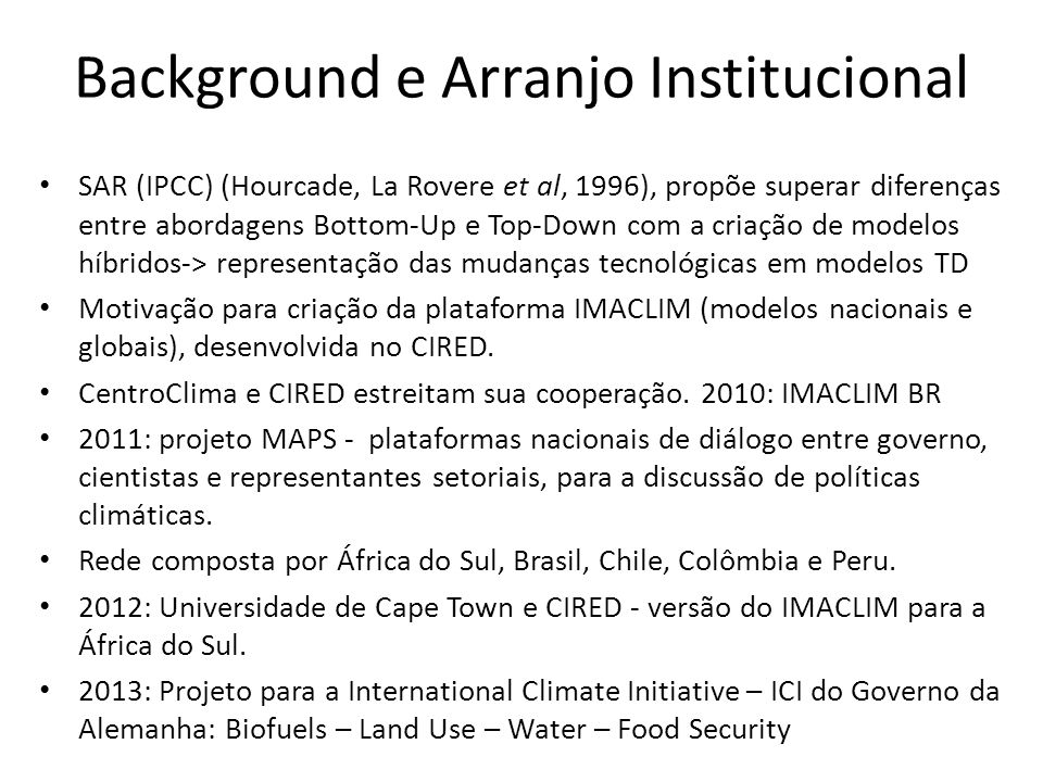 Background e Arranjo Institucional