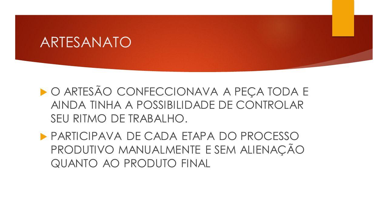 ARTESANATO O ARTESÃO CONFECCIONAVA A PEÇA TODA E AINDA TINHA A POSSIBILIDADE DE CONTROLAR SEU RITMO DE TRABALHO.