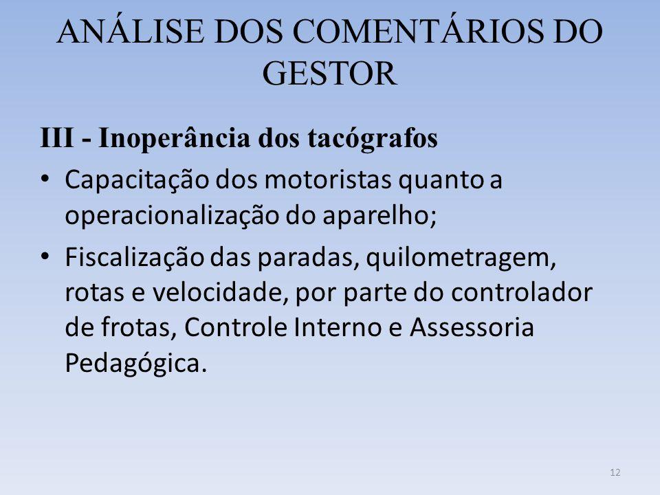 ANÁLISE DOS COMENTÁRIOS DO GESTOR