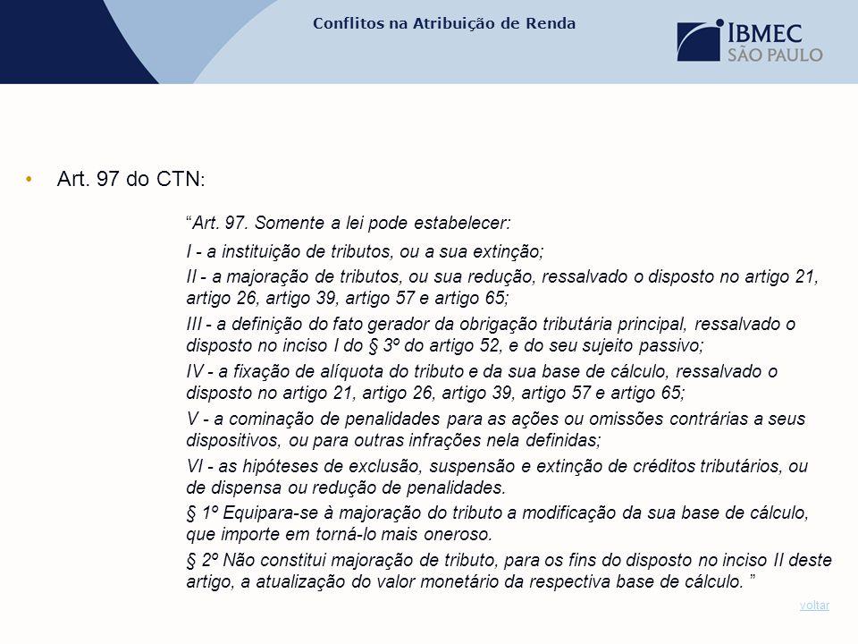 Art. 97 do CTN: Art. 97. Somente a lei pode estabelecer: