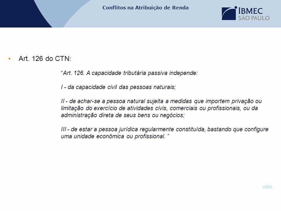 Art. 126 do CTN: Art. 126. A capacidade tributária passiva independe: