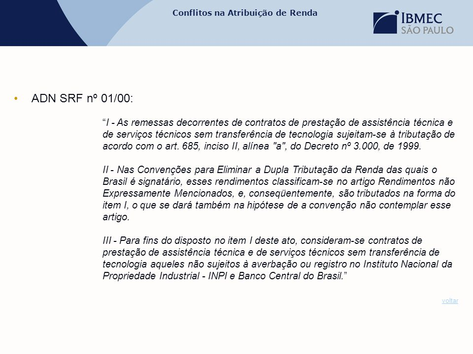 ADN SRF nº 01/00: