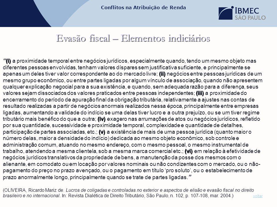 Evasão fiscal – Elementos indiciários