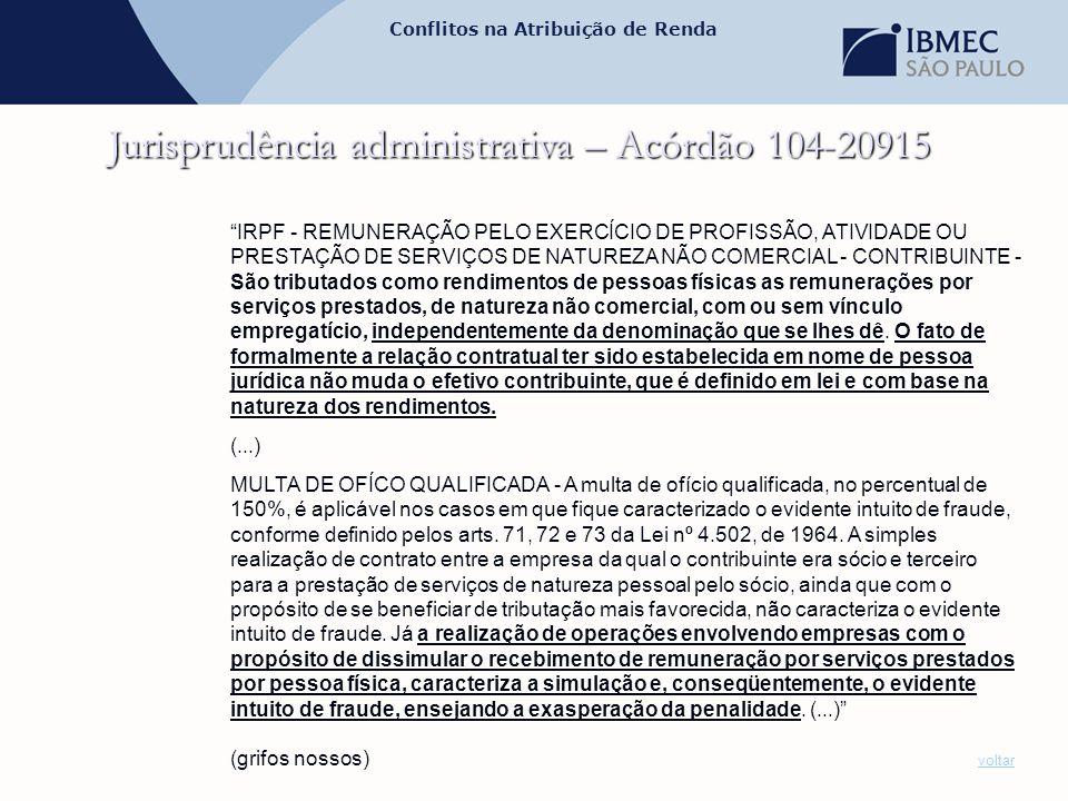Jurisprudência administrativa – Acórdão 104-20915