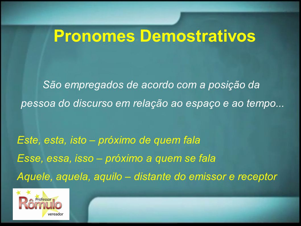 Pronomes Demostrativos