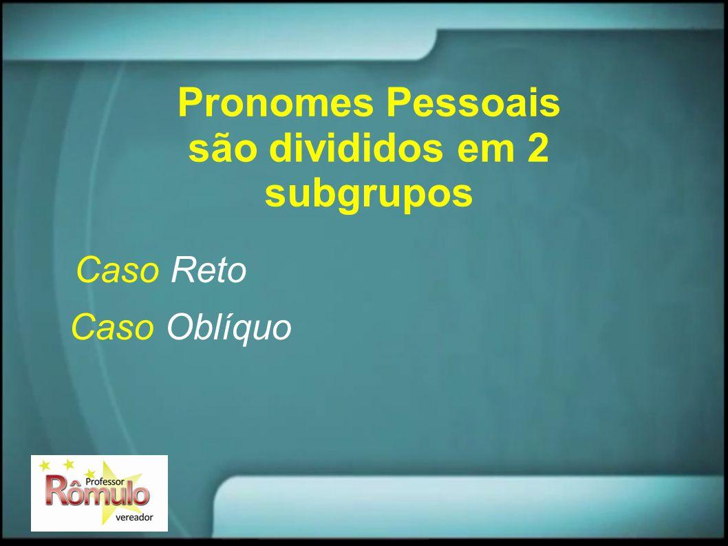 Pronomes Pessoais são divididos em 2 subgrupos