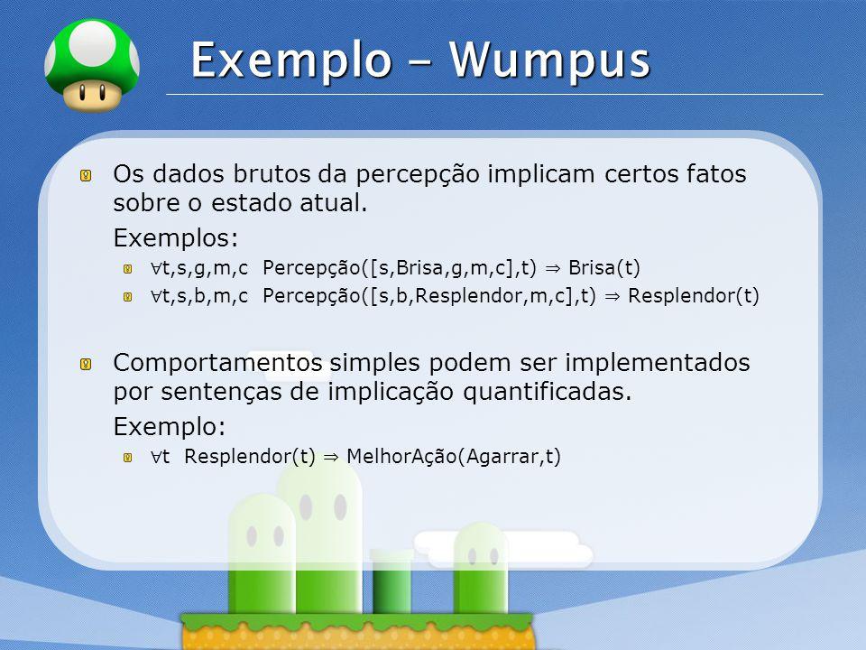 Exemplo - Wumpus Os dados brutos da percepção implicam certos fatos sobre o estado atual. Exemplos:
