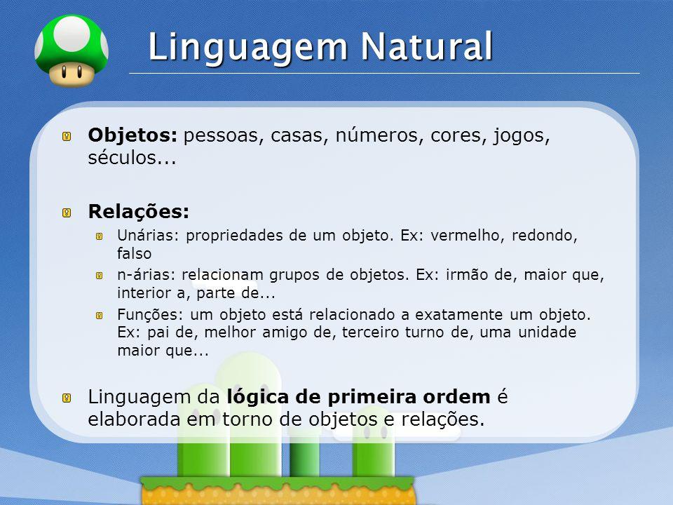Linguagem Natural Objetos: pessoas, casas, números, cores, jogos, séculos... Relações: