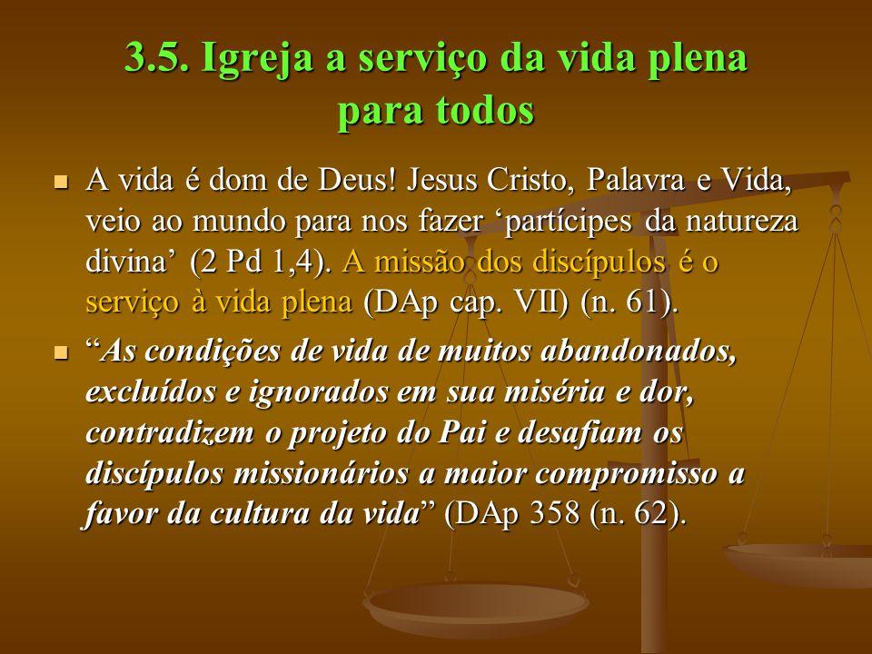 3.5. Igreja a serviço da vida plena para todos