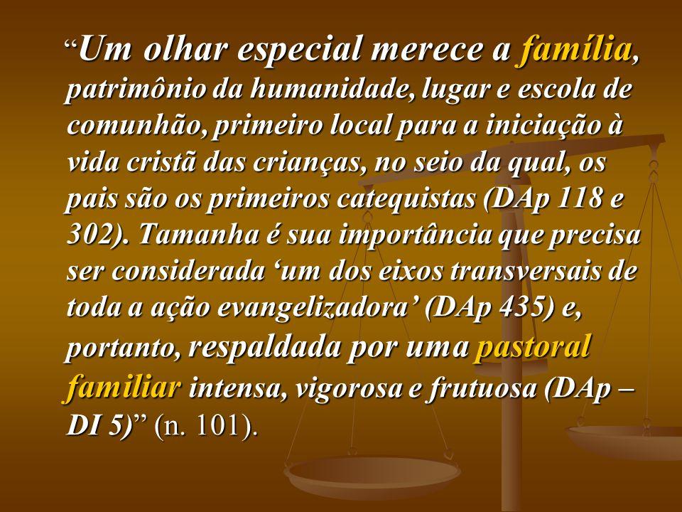 Um olhar especial merece a família, patrimônio da humanidade, lugar e escola de comunhão, primeiro local para a iniciação à vida cristã das crianças, no seio da qual, os pais são os primeiros catequistas (DAp 118 e 302).