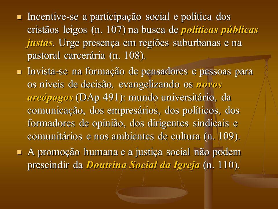 Incentive-se a participação social e política dos cristãos leigos (n