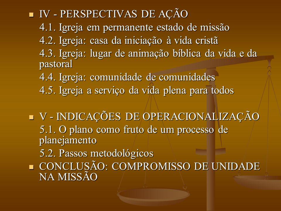IV - PERSPECTIVAS DE AÇÃO