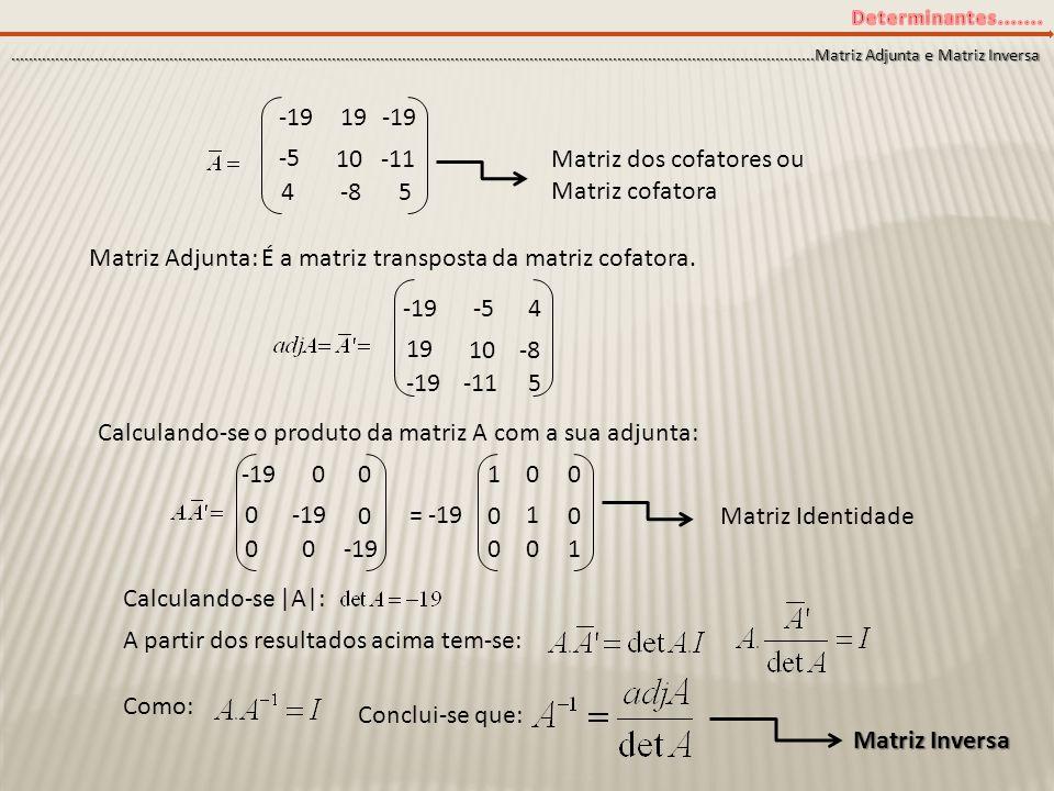Matriz dos cofatores ou Matriz cofatora 4 -8 5