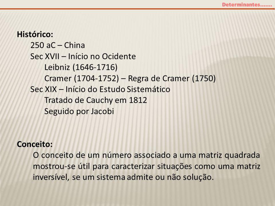 Histórico: 250 aC – China. Sec XVII – Início no Ocidente. Leibniz (1646-1716) Cramer (1704-1752) – Regra de Cramer (1750)