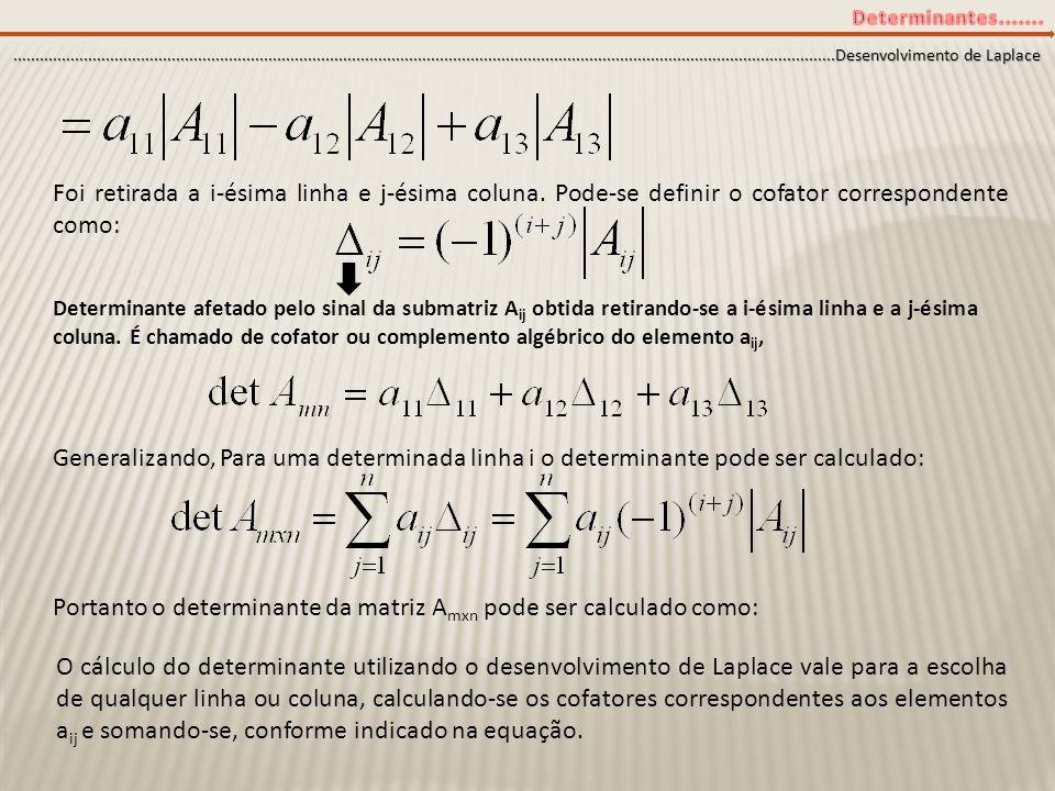 Portanto o determinante da matriz Amxn pode ser calculado como: