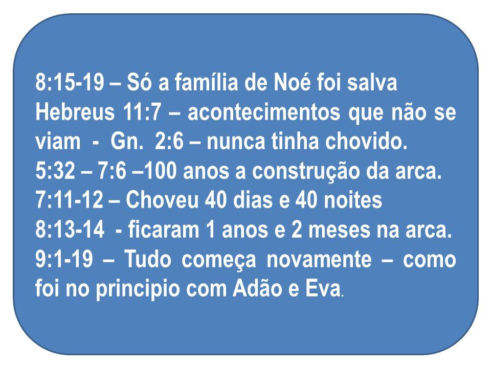 8:15-19 – Só a família de Noé foi salva