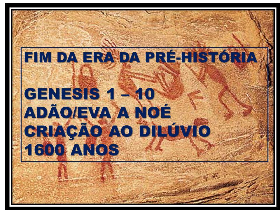 GENESIS 1 – 10 ADÃO/EVA A NOÉ CRIAÇÃO AO DILÚVIO 1600 ANOS