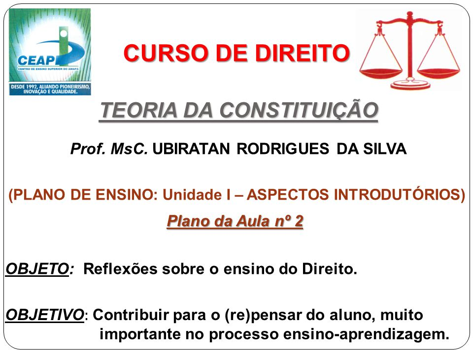 CURSO DE DIREITO TEORIA DA CONSTITUIÇÃO