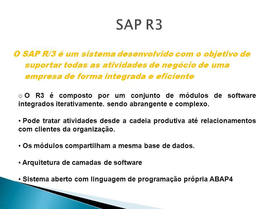 SAP R3 O SAP R/3 é um sistema desenvolvido com o objetivo de suportar todas as atividades de negócio de uma empresa de forma integrada e eficiente.
