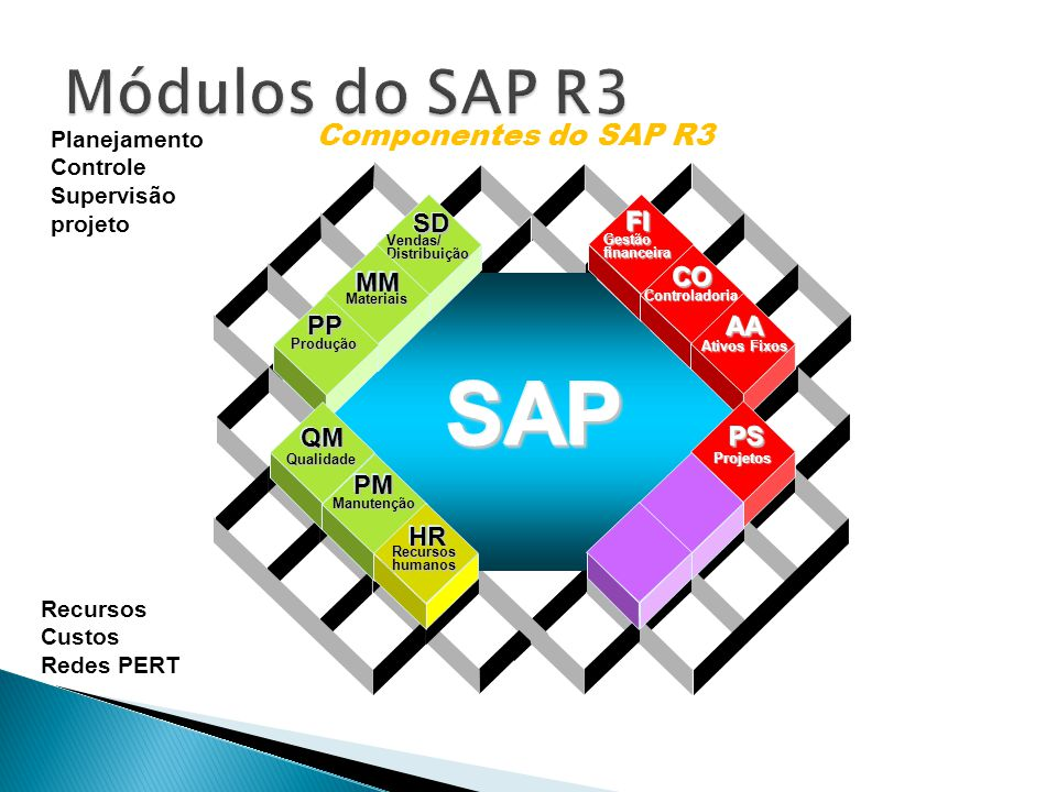 SAP Módulos do SAP R3 Componentes do SAP R3 SD FI CO MM PP AA QM PS PM