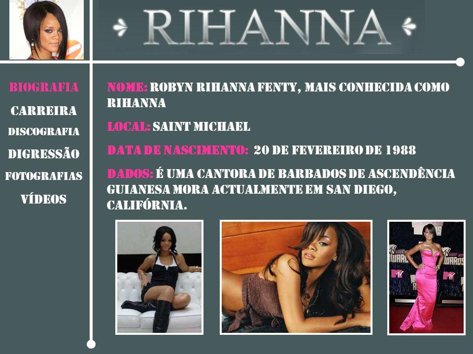 NOME: Robyn Rihanna Fenty, mais conhecida como Rihanna