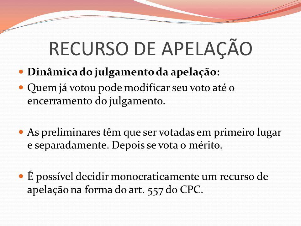 RECURSO DE APELAÇÃO Dinâmica do julgamento da apelação: