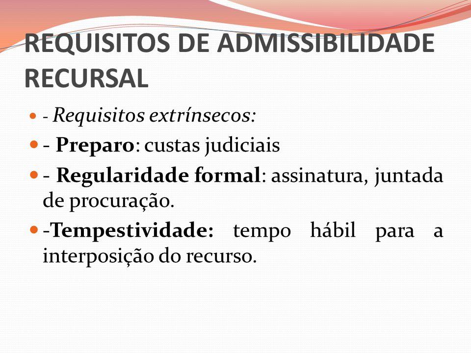 REQUISITOS DE ADMISSIBILIDADE RECURSAL