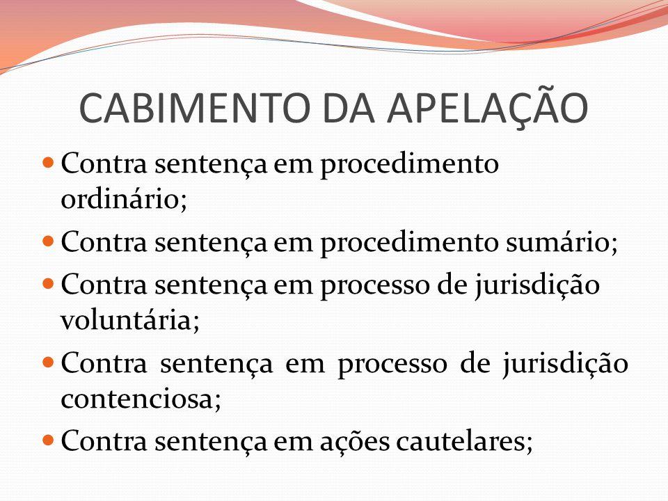 CABIMENTO DA APELAÇÃO Contra sentença em procedimento ordinário;