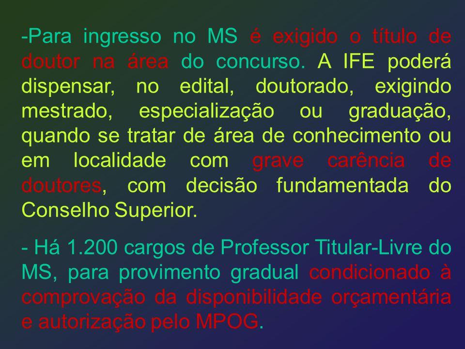 Para ingresso no MS é exigido o título de doutor na área do concurso