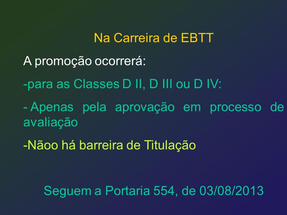Na Carreira de EBTT A promoção ocorrerá: para as Classes D II, D III ou D IV: Apenas pela aprovação em processo de avaliação.