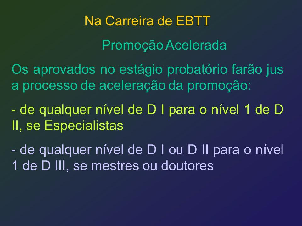 Na Carreira de EBTT Promoção Acelerada. Os aprovados no estágio probatório farão jus a processo de aceleração da promoção: