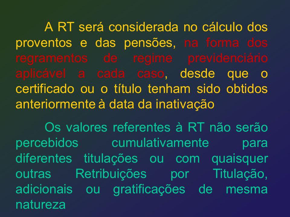 A RT será considerada no cálculo dos proventos e das pensões, na forma dos regramentos de regime previdenciário aplicável a cada caso, desde que o certificado ou o título tenham sido obtidos anteriormente à data da inativação