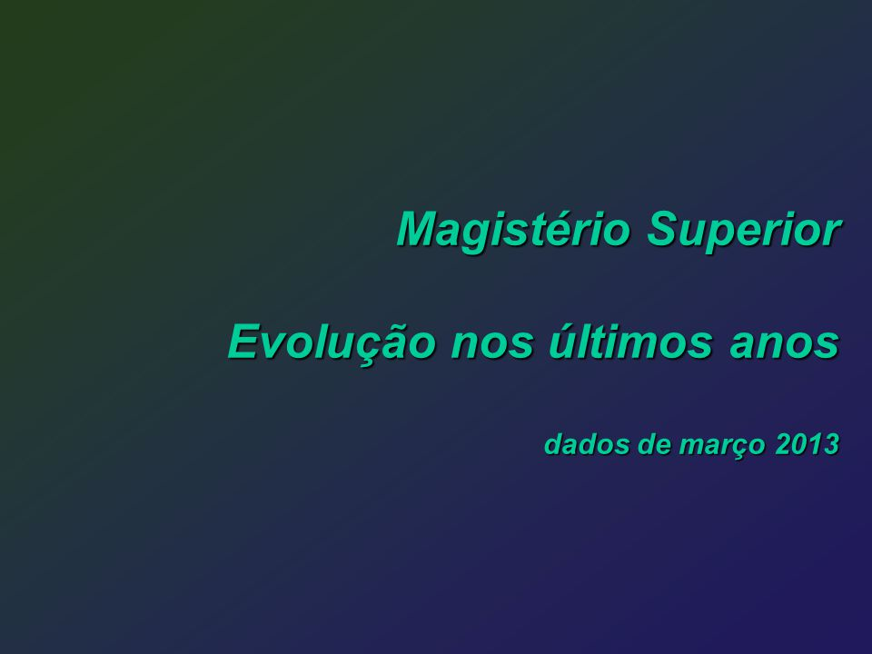 Magistério Superior Evolução nos últimos anos dados de março 2013