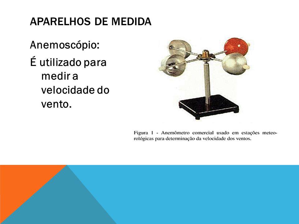 Aparelhos de medida Anemoscópio: É utilizado para medir a velocidade do vento.