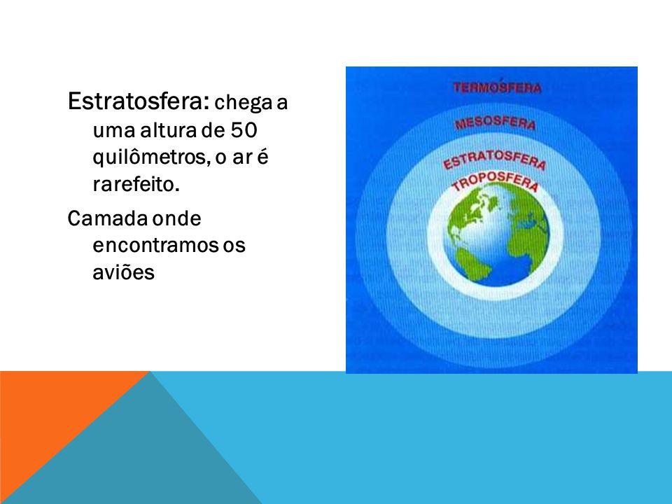 Estratosfera: chega a uma altura de 50 quilômetros, o ar é rarefeito.