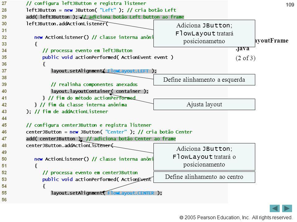 Outline Adiciona JButton; FlowLayout tratará posicionametno